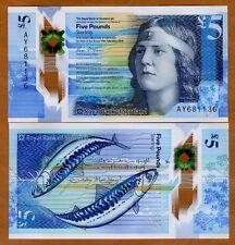 Royal Bank of Scotland, 5 pounds,  2016 P-New, POLYMER, UNC > Nan Shepherd, Fish