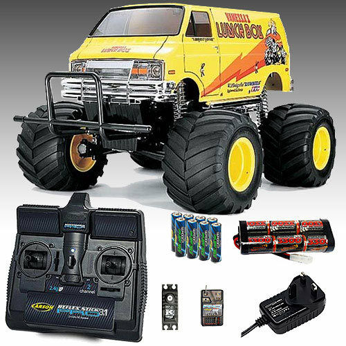Tamiya Lunch Box Kit RC Car Kit Bundle, Carson 2.4ghz, 3300mah Battery - 58347