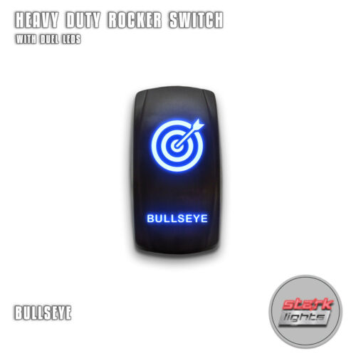 BULLSEYE BLUE Laser Etched LED Rocker Switch 5 Pin Dual Light 20A 12V ON OFF