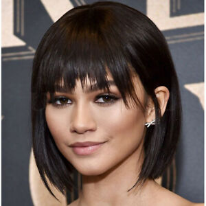 Details About Womens Bob Style Full Wig Peruvian Pure Human Hair Short Straight Wigs W Fringe