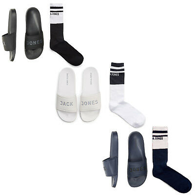 Jack&jones Slides Sandals Flip With Socks Mens Padded Soft Cushioned Fashion