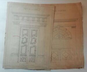2 Dessins Architecture Portail et Porte datés de 1883 signés CHEVELU CL XIXème