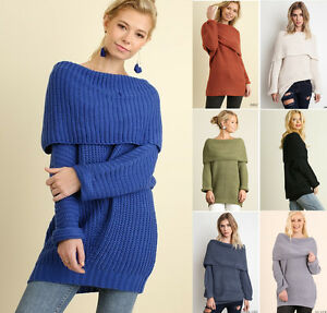 aca39bfee8e Image is loading UMGEE-Women-039-s-Sweater-Off-Shoulder-Chunkyb-