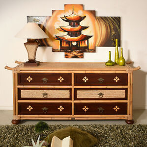 kommode shanghai rattan designer edel m bel schrank sideboard holz asia bambus ebay. Black Bedroom Furniture Sets. Home Design Ideas