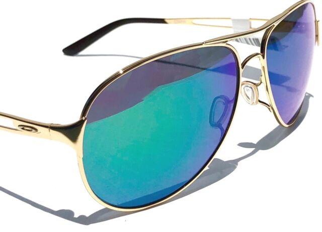 005a50d536058 NEW  Oakley CAVEAT Gold 60mm Aviator Green Jade Iridilum Womens Sunglass  4054-15