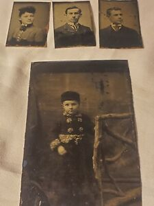Vintage Antique   (4) Tin Type Photo Photographs Civil War Era