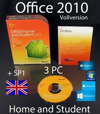 Microsoft Office Home and Student 2010 Englisch Vollversion 3 PC Box, DVD + SP1