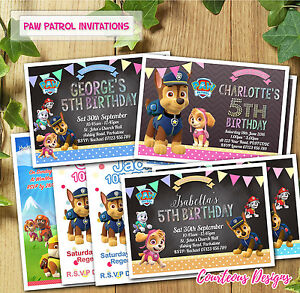 Image Is Loading Paw Patrol Birthday Invitations Invites For Girl Amp