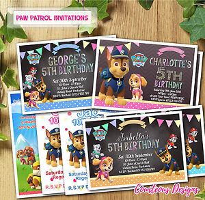 Image Is Loading Paw Patrol Birthday Invitations Invites For Amp