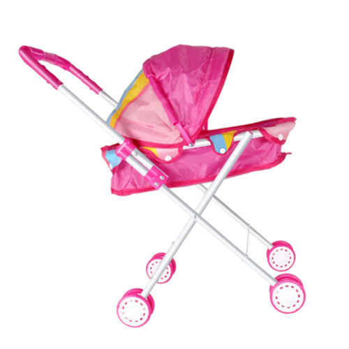 Soft Plastic Handles /& Sturdy Frame Lovely Baby Doll Stroller Trolley Pink