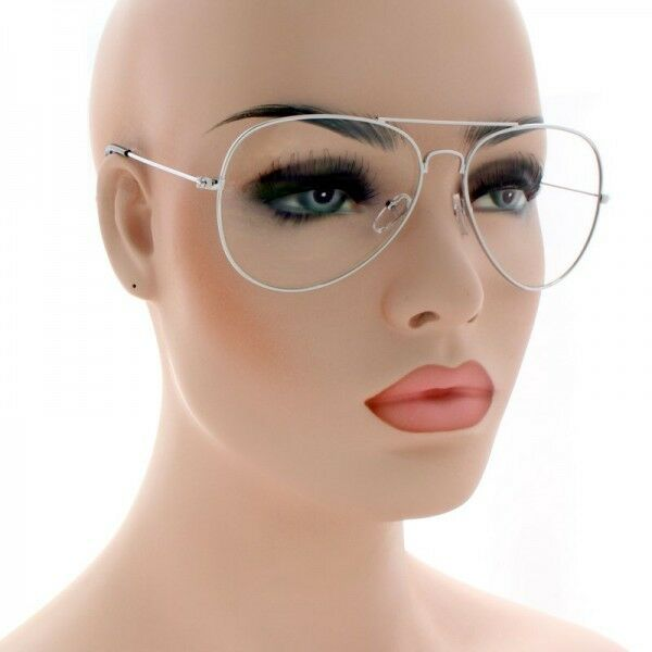 64b82a4b141 Aviator Glasses Hipster Vintage Style Retro Metal Clear All Silver 112 for  sale online