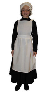 Girls-Victorian-Edwardian-Maids-Pinafore-Apron-amp-Mop-Hat-Fancy-Dress-Costume