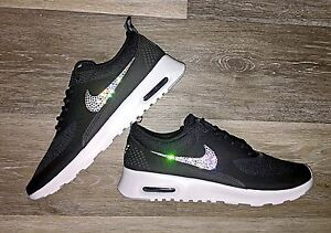 Details about Womens Nike Air Max Thea Black W Swarovski Crystals