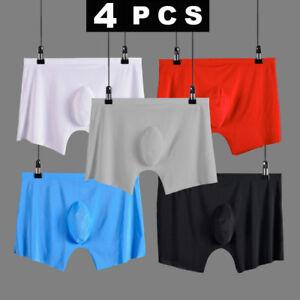 4 PCS men underwear Boxer shorts Ice silk Seamless sexy male men's underpants