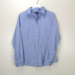 Banana Republic Womens Button Up Shirt Non Iron Fitted 14 Blue Career Business