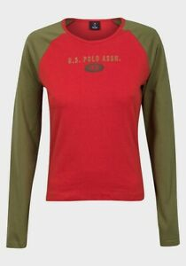 Ladies-Tshirt-long-sleeve-US-Polo-Womens-Red-brown-Boxy-Top-cotton-size-M-L