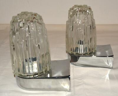 2 Wandleuchten Hoffmeister, Brutalistische Form Glasschirme, 50er Jahre