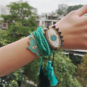 MIYUKI-Bracelet-Evil-Eye-Bracelet-Hamsa-Hand-Green-Crystal-Tassel-Handmade