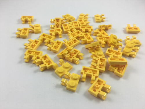 LEGO® Yellow Plate Modified 1 x 2 with thick O Clips Clips Part 60470b MOC