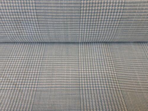 GOOD QUALITY HEAVY LINEN MIX CHECK FABRIC DUCK EGG BLUE 3mts /& 5mts