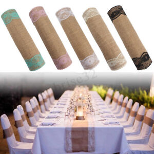 280x30cm-Vintage-Natural-Burlap-Lace-Jute-Hessian-Table-Runner-Wedding-Decor