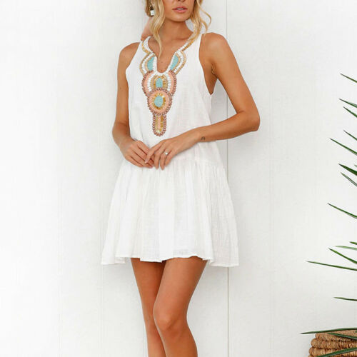 UK Womens Sleeveless V-Neck Evening Party Cocktail Ladies Beach Short Mini Dress