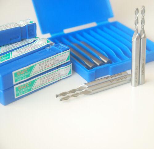 10pcs HSS-AL CNC 2 Flute 3mm(3×6×19×63mm)Super long Spiral Bit End Mill Cutter
