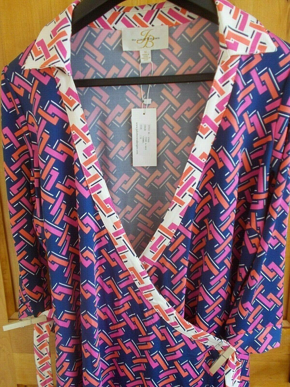 JB BY JULIE braun 1X CARMEL WRAP DRESS NWT IVORY & NAVY GEOMETRIC W BELT COLLAR
