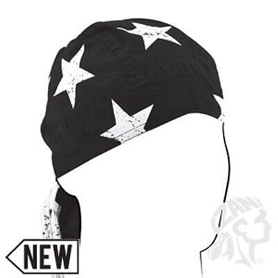 New Zan Headgear Flydanna in Black W// White Skulls