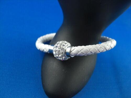 Trend símil cuero trenzas pulsera con circonita bala cierre magnético