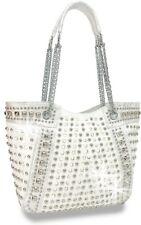 White Rhinestone and Stud Accented Metallic Fashion Handbag