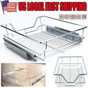 4 Size Single Tier Pull-Out Wire Basket Kitchen Cabinet Pull Out Sliding Shelves | eBay