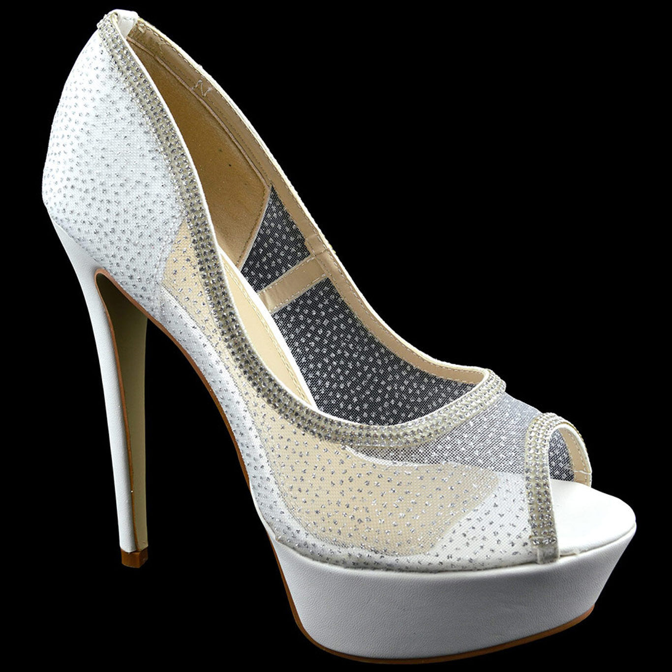 140 White Sexy Stiletto CRYSTAL Strass Peep Toe Women shoes High Heels