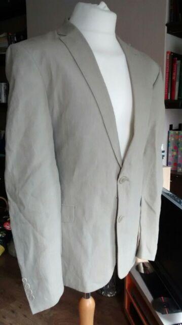 Mens 100% Linen Blazer Size 44R Chest Lightweight Summer Jacket Beige Jeff Banks