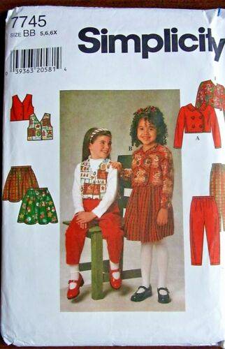 Simplicity sewing pattern no.7745 little girls 56x skirt, pants, vest & jacket