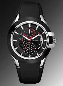 new guess men nitrogen sport black silicone strap watch u10575g1 image is loading new guess men nitrogen sport black silicone strap