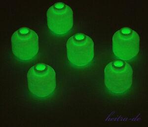 LEGO-6-x-Kopf-leuchtet-im-Dunkeln-Glow-In-Dark-White-Head-3626c-NEUWARE