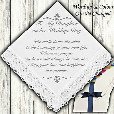 SchöN To My Daughter On Her Wedding Day Bridal Gift Keepsake Handkerchief Personalised Attraktive Designs;