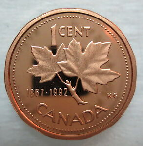 1867-1992 CANADA 1 CENT 125th CONFEDERATION ANNIVERSARY PROOF PENNY COIN