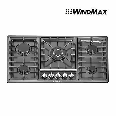 "Hot 34"" 10800W Titanium Stainless Steel Built-in 5 Burner Stoves Gas Hob Cooktop"
