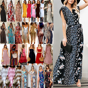 US-Women-Boho-Floral-Long-Maxi-Dress-Evening-Party-Beach-Dresses-Summer-Sundress