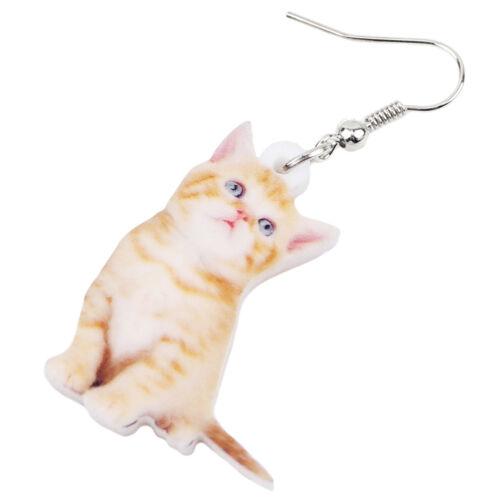 Acrylique Lovely Assis Chat chaton boucles d/'oreille pendantes Dangle Pet Bijoux pour Femmes Cadeau
