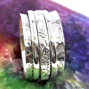 Solid-925-Sterling-Silver-Spinner-Ring-Meditation-Ring-Statement-Ring-Size-tt29