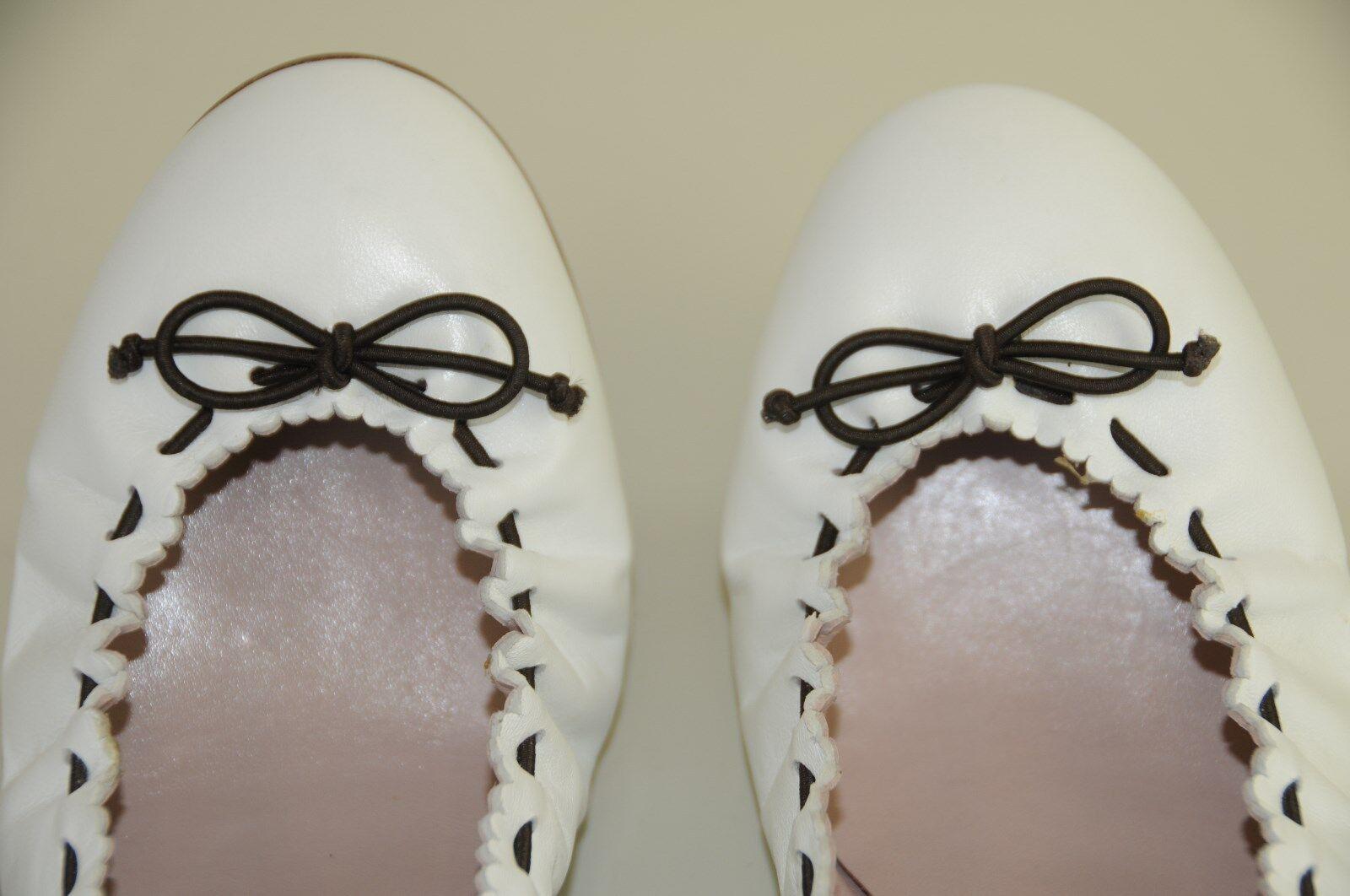 NEW MANOLO BLAHNIK TEFAMOD Brown White Bow Stretch Ballerina Flats SHOES 40.5