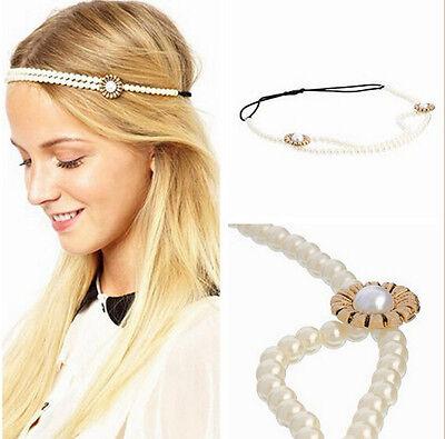 Boho Crystal Pearl Gold Metal Chain Head Jewelry Headband Headpiece Hair Band