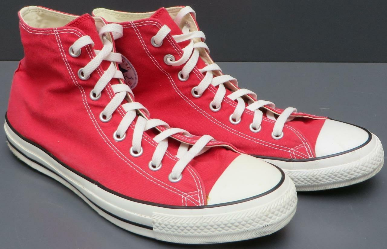 Men Converse All Star Chuck Taylor Red Textile High Top Lace Up Sneaker Shoe 11M