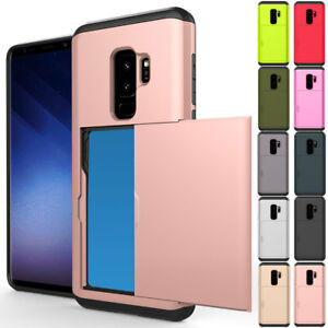 sale retailer 10770 d3e0c Details about Hybrid Rubber Card Wallet Hard Case Cover For Samsung Galaxy  Note 9/8 S9 S8 +