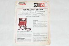 Vtg 1981 Lincoln Electric Welder Idealarc Sp 200 Advertising Dealer Spec Sheet