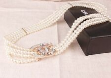 Chic ivory pearl belt crystal rhinestone bling adorned stretchable chain size S