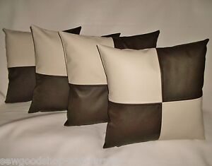 "4 Brown Faux Leather Classic Cushion Covers 16/"" 18/"" 20/"" Scatter Pillows"